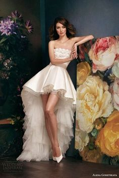 High low wedding gowns are a popular choice among brides because they look sassy and allow you to show your legs and make a statement with shoes because they will be seen...