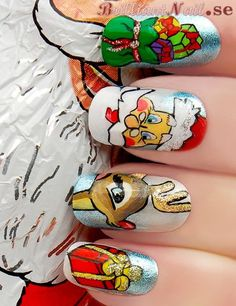 Christmas Nails - Wow, lots of detail! #nailart #nailpolish #Christmas Check it out: http://funistheanswer.com/sweater-izer/