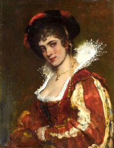 Eugene de Blaas - Portrait d'une dame vénitienne