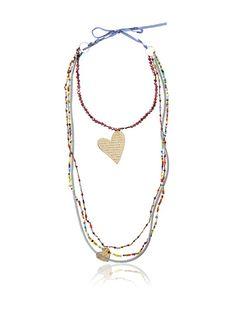 Mercedes Salazar Multi-Strand Beaded Heart Necklace, Multicolor
