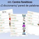 Centro fonéticos A-Z diccionario/ pared de palabras: (62 pages - color)Phonics Centers: A-Z Dictionary/Word Wall Contains 1-3 pages of pictures an...