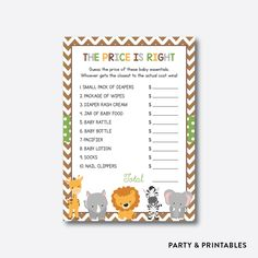 Baby Safari The P... http://partyandprintables.com/products/baby-safari-the-price-is-right-non-personalized-instant-download-sbs-31?utm_campaign=social_autopilot&utm_source=pin&utm_medium=pin #partyprintables #birthdayinvitation #partysupplies #partydecor #kidsbirthday #babyshower
