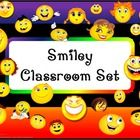 SMILEY FACE THEME SET   This set includes the following:  Desk name tags (both regular and primary)  Charts (1 to 100, addition, and multiplication...