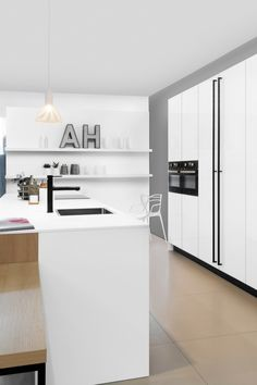 Grifflose Küche, Weiße Küche, Küche Ohne Griffe, Kochinsel, Kücheninsel,  Offene Küche