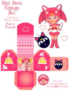 Sailor Mini Moon (Chibiusa Tsukino) Cottage Box - Free & Printable