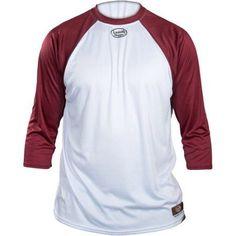 Louisville Slugger Youth Slugger Loose-Fit 3/4-Sleeve Shirt, White/Maroon, Boy's, Size: Medium