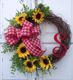 Sunflower+wreath+Monogram+wreath+Spring+by+KarensCustomWreaths,+$66.00