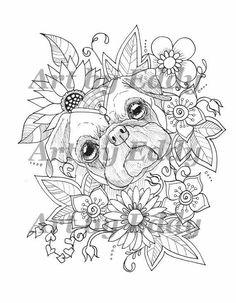 50 Off DIY Pug Instant Coloring Book Page art Digital Download