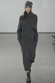 Dark grey long knitted dress by Joseph. Fall 2014.