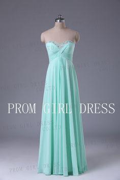 A-line Strapless Ruffles  Floor-length Chiffon Prom Dress / Evening Dress on Etsy, $128.00