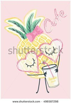 Find illustration cute pineapple graphic for t shirt print stock vectors and royalty free photos in HD. Explore millions of stock photos, images, illustrations, and vectors in the Shutterstock creative collection. Pineapple Illustration, Fruit Illustration, Food Illustrations, Character Illustration, Botanical Illustration, Watercolor Illustration, Illustration Fashion, Digital Illustration, 365 Kawaii