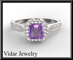 Emerald Cut Amethyst Engagement Ring
