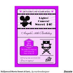 Shop Hollywood Movie Sweet 16 Invitation created by marlenedesigner. Personalize it with photos & text or purchase as is! Sixteenth Birthday, 16th Birthday, Sweet Sixteen Invitations, Custom Invitations, Hollywood Sweet 16, Faire Part Photo, Carton Invitation, Movie Themes, Vintage Lettering