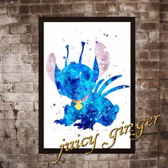 Stitch art print Stitch watercolor poster Art Print by juicyginger