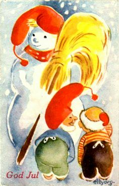 Julekort Elbjørg Øien Nisse Moum brukt 1943 Utg Oppi Christmas Postcards, Christmas Cards, Christmas Ideas, Scandinavian Christmas, Norway, Rooster, Retro, Prints, Painting