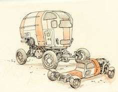 Desert wheels. Page from my new book DRAWINGS, kickstarting now.