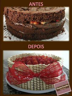 Se todo mundo tem direito a bolo, eu também tenho né? Esse foi o meu bolo de aniversário, com as duas coisas que mais gosto... morango e brigadeiro!!! Amo demais!!! E ainda molhadinho com licor de chocolate