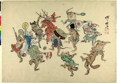 Animals dancing round frog and mouse with a drum. Ink and colours on paper. Japanese Art Modern, Japanese Drawings, Drum Drawing, Hokusai, Japanese Monster, Japan Painting, Dancing Cat, Happy Art, Old Art