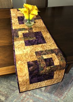 Plum and Gold Quilted Tablerunner, Modern Batik Table Runner, Handmade Wallhanging, Reversible Table Quilt, Contemporary Dining Decor by FabriArts on Etsy