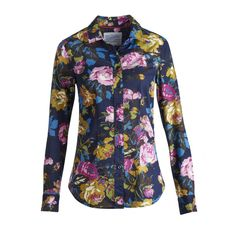 Joules Womens Maywell Floral Print Shirt in Navy