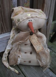 Folk Art PrimiTive ChrisTmas WinTer GrunGy SNOWMAN DOLL Door GreeTer Decoration #NaivePrimitive #MelissaHarmon