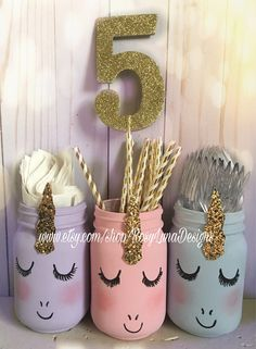 Bashful or giggling pastel unicorn mason jars, set of 3 quart jars, unicorn birthday party, pastels, unicorn baby shower Pastel bashful unicorn mason jar set unicorn birthday party Unicorn Birthday Parties, First Birthday Parties, Birthday Party Decorations, First Birthdays, Birthday Ideas, Birthday Photos, Birthday Presents, Birthday Cakes, Decor Crafts