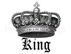 King Royal Crown Vintage Large Image Digital by FoxyCoutureDesigns, $1.00