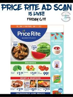 Price Rite Ad 6/11: $.59 Chickens Drums & Thighs, $1.49 Kelloggs Cereal & more Rice Krispie Treats, Rice Krispies, Tyson Chicken Wings, Smuckers Uncrustables, Totinos Pizza Rolls, Aunt Jemima Pancakes, Chicken Drums, Pepperidge Farm Goldfish, Dole Pineapple