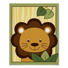 Safari Jungle Animal Lion Nursery Wall Art Print