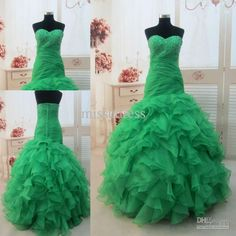 Wholesale 2013 Puffy Quinceanera Dresses Green Sweetheart Beading Organza Mermaid Long Ball Gown Prom Dress, Free shipping, $141.12-159.04/Piece | DHgate