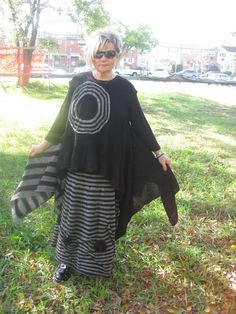 Handknitted Lagenlook asymmetrical black and grey sleeveless tunic