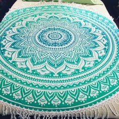 Green ombre round beach towel, picnic blanket, yoga mat, roundie mandala towel, mandala tapestry, hippie blanket, boho towel, roundie towel