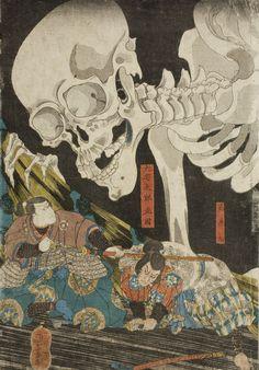 Utagawa Kuniyoshi - In the Ruined Palace at Sōma, Masakado's Daughter Takiyasha Uses Sorcery to Gather Allies, 1844 (middle panel)