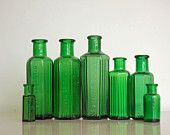 Antique Green Glass Bottles, Poison, Vintage Bottles, Various Sizes, Apothacary