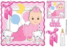 Cute little baby girl  with cuddly bears and her bottle with bow 8x8 on Craftsuprint - View Now!