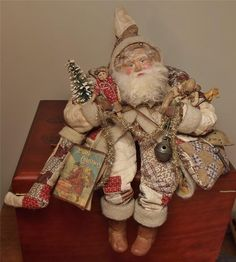 Handmade Santa~Teddy Bear & Primitive Doll~By Kim Sweet~Kim's Klaus....wearing Antique~1800's~Hand-stitched Quilt