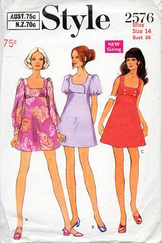 1960s Mini Mod Dress Vintage Sewing Pattern  by BessieAndMaive,