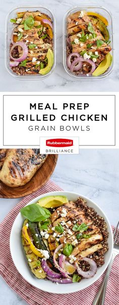 For a healthy and nutritious plan-ahead dish for summer, this recipe for Meal Prep Grilled Chicken Grain Bowls has everything you're looking for. Good-for-you ingredients and a quick prep time is something we can all get on board with! And packing this delicious combination of quinoa, roasted vegetables, chicken, feta cheese, and balsamic dressing is easy thanks to the Rubbermaid BRILLIANCE™ containers which can be found at Target. Talk about a tasty lunch packing hack!