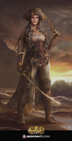 "spassundspiele: "" Wild Sea Pirate II – fantasy character concept by Eve Ventrue for the online game ""Seafight"" by Bigpoint "" Pirate Queen, Pirate Art, Pirate Woman, Pirate Life, Pirate Ships, Pirate Crafts, Chica Fantasy, Fantasy Girl, Fantasy Women"