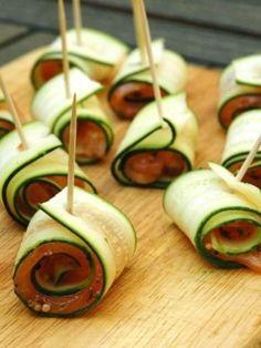 Recette Roulés de courgettes au saumon, notre recette Roulés de courgettes au saumon - aufeminin.com