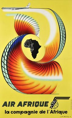 Air Afrique poster by Hermerch. Lithography from ca Parisposters only offers original vintage posters. Vintage Travel Posters, Vintage Airline, Poster Vintage, Airline Travel, Air Travel, Travel Tips, Africa Art, Advertising Poster, Vintage Ephemera