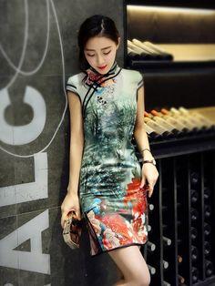 Short Modern Qipao / Cheongsam Prom Dress in Forest Print