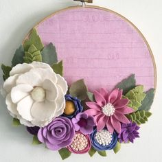 Flower Embroidery Ideas 9 embroidery hoop with handmade felt flowers. Embroidery Hoop Crafts, Embroidery Hearts, Embroidery Hoop Art, Hand Embroidery Designs, Flower Embroidery, Embroidery Ideas, Embroidery Stitches, Japanese Embroidery, Embroidered Flowers