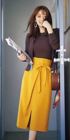 Rika Izumi peeked at the cute secret with coordinates ♡-with online-Kodansha Official- Long Skirt Fashion, Modest Fashion, Fashion Outfits, Womens Skirt Pattern, Uniqlo Style, Fashion Models, Modest Dresses, Club Dresses, Party Dresses