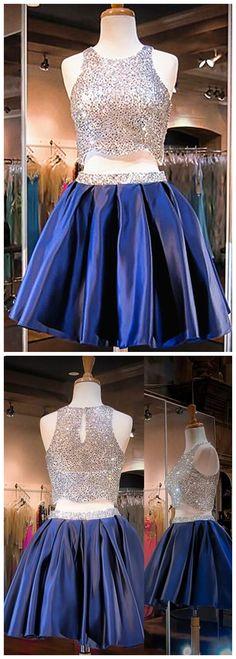 Navy Blue Homecoming Dress,2 Piece Beading Homecoming Gowns,Short Bling Homecoming Dress,2 pieces Cocktail Dress,Evening Gowns