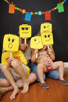 Lego Head Photo Booth Birthday Party Ideas for Boys DIY Lego Party Ideas for Boys 6th Birthday Parties, Boy Birthday, Diy Lego Birthday Party Ideas, 5th Birthday Ideas For Boys, Lego Movie Birthday, Free Birthday, Diy Party, Lego Birthday Banner, Parties Kids