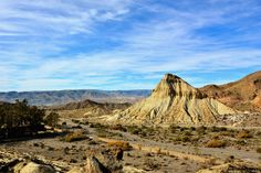 SPAIN / ANDALUSIA / Nature / Landscapes -The Tabernas Desert is one of Spain's semi-deserts, located within Spain's southeastern province of Almería. Almeria is the driest region of Europe, with the continent's only true desert climate  It is protected as a wilderness area spanning 280 square kilometres (110 square miles).