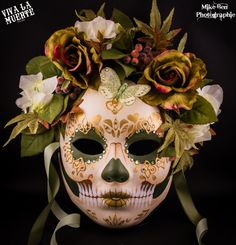 MOTHER NATURE Dio de los Muertos/ Day of the dead hand painted skull mask, classy collection