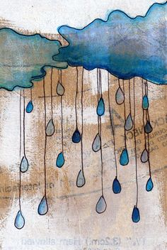 Apres Moi - 4x6 affordable print on photo paper- original drawing of rain drops from a rain cloud - FREE shipping. $5.00, via Etsy.