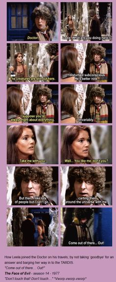 """14. The Face of Evil (1977) [gifset] - """"Come out of there… Out!"""" - How Leela joined the Doctor on his travels; by not taking 'goodbye' for an answer and barging her way in to the TARDIS. - """"Don't touch that! Don't touch…"""" *Vworp-vworp-vworp* - Fourth Doctor and Leela, Doctor Who"""